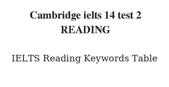 Cambridge ielts 14 test 2 READING