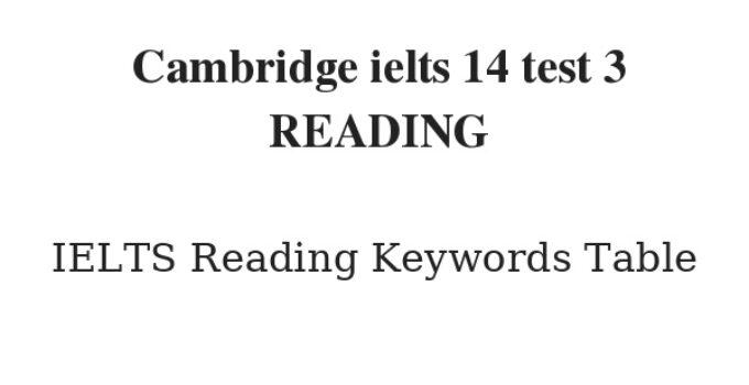Cambridge ielts 14 test 3 READING