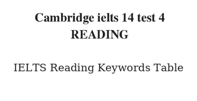 Cambridge ielts 14 test 4 READING