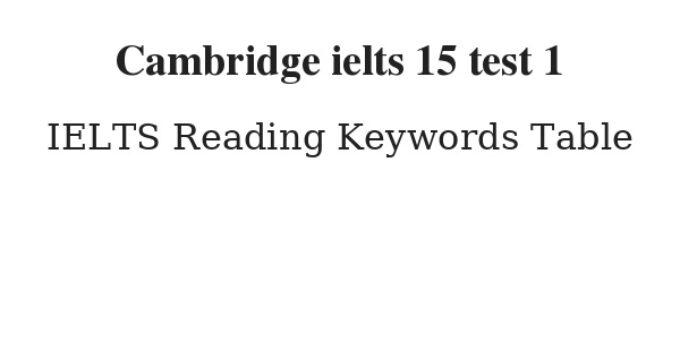 Cambridge ielts 15 test 1 Reading Keywords Table