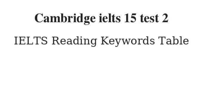 Cambridge ielts 15 test 2 Reading Keywords Table