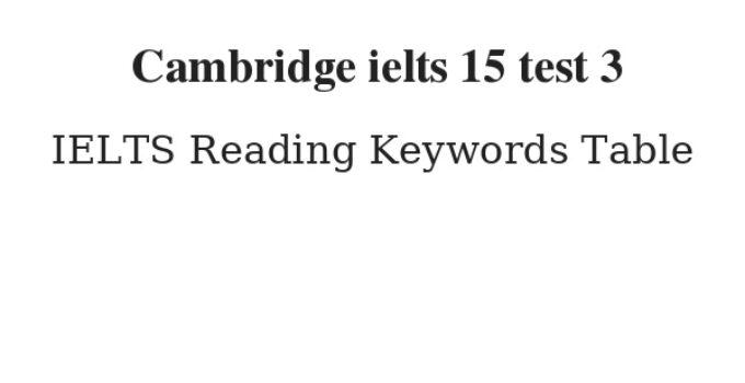 Cambridge ielts 15 test 3 Reading Keywords Table
