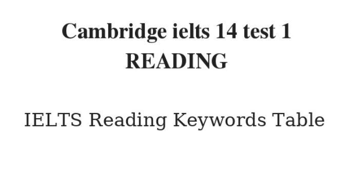Cambridge ielts 14 test 1 Reading Keywords Table